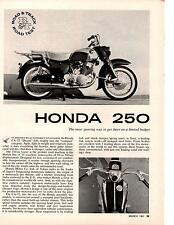 1961 HONDA 250  ~  NICE ORIGINAL THREE-PAGE ROAD TEST / ARTICLE / AD