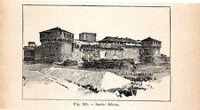 Stampa antica IMOLA veduta della Rocca Bologna 1910 Old print