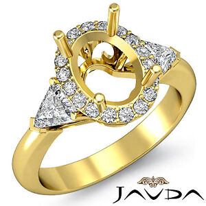 3 Stone Diamond Engagement Trillion Oval Mount Filigree Ring 14k Yellow Gold 1Ct