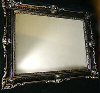 Wall Mirror Baroque Rectangular Antique DECORATION Black-Silver 90x70cm