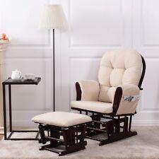 Baby Nursery Relax Rocker Rocking Chair Glider Ottoman Set W Cushion Beige
