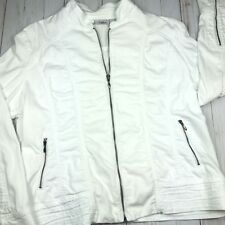 Chicos Platinum White Zip-Up Jacket Coat Womens Size 3