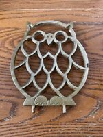 """Vintage India Solid Brass Owl Trivet Hot Plate Holder, Wall Decor 5x7"""""""