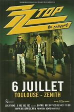 FLYER PLV - ZZ TOP EN CONCERT LIVE A TOULOUSE ( FRANCE )