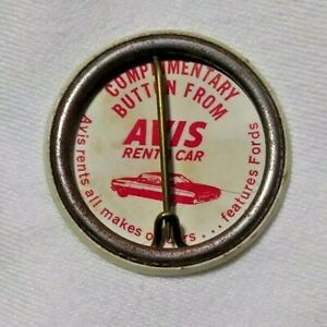 "Vintage We Try Harder Avis pinback button - 1960s or 1970s? -  ""Features Fords"""