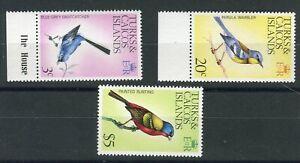 Turks & Caicos QEII 1976 Birds 3c 20c $5 new watermark SG454,59,64  MNH