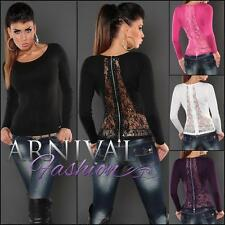 WOMEN FASHION lacy LONG SLEEVE JUMPER KNIT LACE TOP KNITTED PULLOVER sz XS S M L