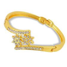 Pretty Gold Plated Crystal Flower Shape Symmetrical Bangle Bracelet Gift Lady