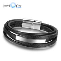 Men's Stainless Steel Bracelets Leather Bracelets 5 Layers Chain Links Bracelet