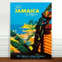 "Vintage Travel Poster Art ~ CANVAS PRINT 36x24"" ~ Jamaica by Clipper"