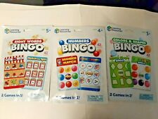 Learning Resources Sight Words , Numbers & Colors & Shapes Bingo 3 pack Set NEW