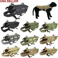 US Police K9 Tactical Military Molle Dog Harness Training Vest XS S M L XL Size