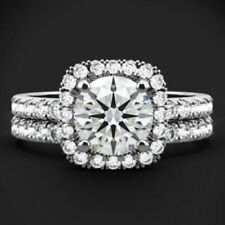 2.50 Ct Round Diamond Wedding Bridal Band Sets 14K Solid White Gold Size M N O Q