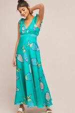 NWT Anthropologie Summer School Fish Print Silk Maxi Dress By  Anupamaa Sz. 8