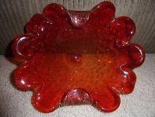 Vintage Orange Bubble Murano Glass Dish