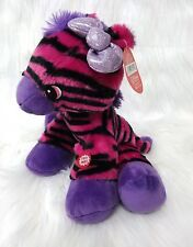 "Fiesta 10"" Zebra Pink Purple Black Girl w Sound Stripes Soft Plush Toy B202"