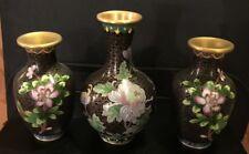 "3pc Set of Cloisonne Flowered Vases 5"" to 61/2"" High   MAKE AN OFFER"