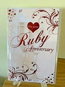 Ruby 40th Wedding Anniversary Card - Celebration Red Foil Quality