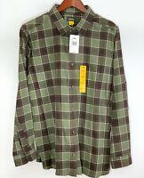NWT Cabela's Mens 2XL L/S Button Front Timber Brown Plaid Soft lannel Shirt
