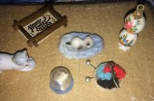 Vintage Miniature Dollhouse Various Craft Items With 2 Cats, Cards 9 Pieces