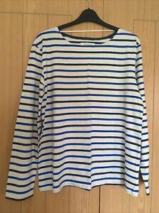 Seasalt Striped Long Sleeve Sailor T Shirt Navy & Blue Size 18