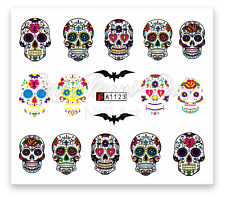 Sugar Skull Water Decals, Nail Art Stickers, Day of Dead, Halloween, Bats Skulls