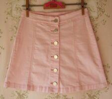 Rare! BOUTIQUE Vtg 60s 70s Light/Baby Pink Stretch Denim Button Mini Skirt XS