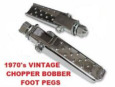 Flat Dimpled Folding Footpegs Chrome w Stud & Hardware Vintage NOS Harley Bobber