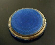 Antique Powder Case silver & blue vintage mirror make up travel old powered nice