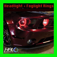2005-2009 FORD MUSTANG RED LED HEADLIGHT+FOG  HALO KIT (4 Rings) by ORACLE