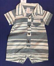 Baby Boy Size 3 Month Gray & White Striped Romper Nwt