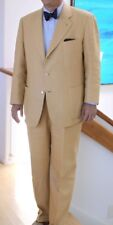 Mens Linen Formal Business Suit Blazer Grooms Dinner Jacket 3 Button Coat Pants
