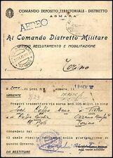ERITREA-POSTA MILITARE N.1002-Cartolina x via aerea Asmara->Torino 19.11.1940