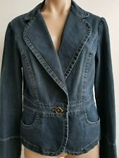 French Cuff Denim Blue Stretch Denim Blazer Jacket size M Single Button