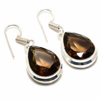 "Smoky Topaz Gemstone Handmade Ethnic 925 Silver Jewelry Earring 1.58"" c27us"