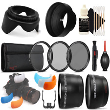 58mm Telephoto and Wide Angle Lens with Accessories for Canon EOS 77D and 80D