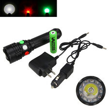 RED GREEN WHITE 12LED 3000LM Q5 LED FLASHLIGHT Strobe Signal Light AC/CAR Charge