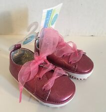 Toddler Infant Girls Little Wonders Shoes Size 2 Pink Pay Lace Up NWT