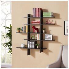 Five Level Floating Black Wood Wall Mount Shelf Asymetric Storage Bookshelf NEW
