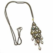 Gorgeous Brass w/ Chandelier Pendent & Swarovski Crystal Long Necklace 15""