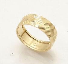 Size 8 Diamond Cut Cross Cut Band Ring Real Solid 14K Yellow Gold QVC