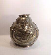 Superbe Vase art-déco étain signé Houzeaux  dinanderie, roses
