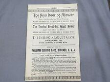 Vintage 1886 DEERING IHC Mower Sales Catalog Brochure 20 page IH early!!!