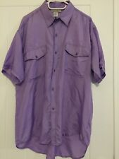 100% Pure Silk Men's Purple Short Sleeves Shirt Size Asian XXL Brand New