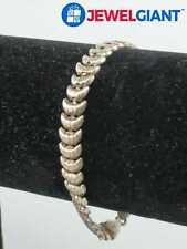 "Croissant Shape Chain 7.7 G #bn968 Glo Signed Sterling Silver 925 Bracelet 7"""
