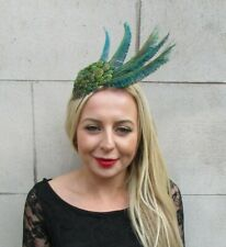 Gold Green Peacock Feather Fascinator Headband Races Headpiece Wedding Vtg 7142