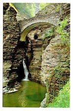 Watkins Glen State Park Postcard New York Sentry Bridge Cascade Gorge Entrance