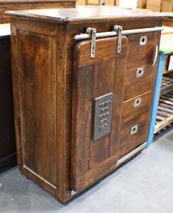 """42"""" H Cabinet metal rail 1 door 4 drawer solid brown hardwood industrual design"""