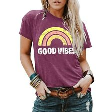 UK Womens Short Sleeve T-Shirt Top Ladies Summer Good Vibes Blouse tShirt