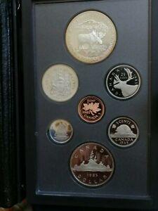 Juego completo de Monedas CANADA 1985 en estuche PROOF con dólar de Plata